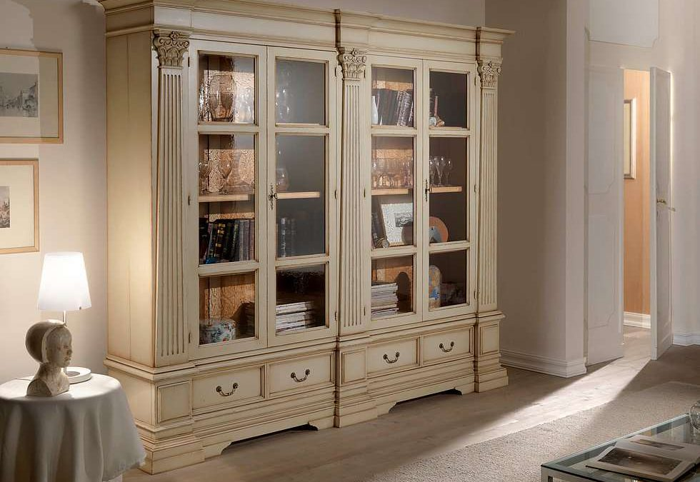 Bookcase with 4 glass doors and 2 drawers