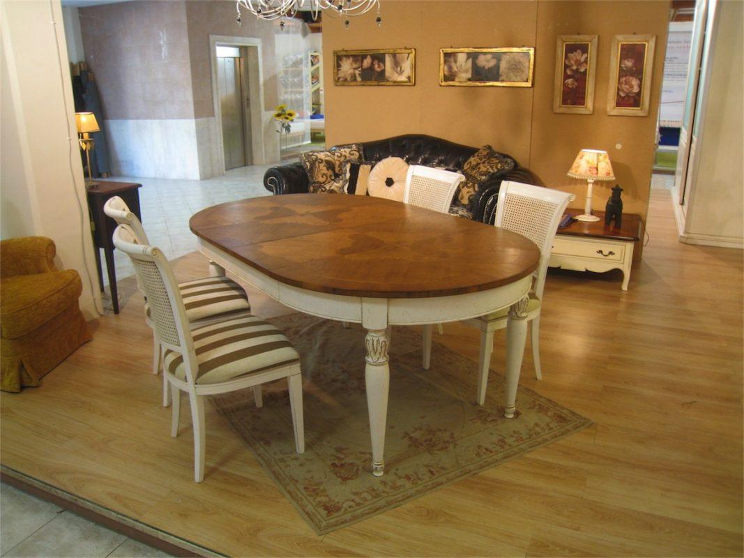 Tavolo ovale allungabile con 2 allunghe (intarsio T152) - Bassan Art